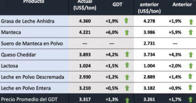 La última subasta del año en Fonterra dejó subas para todos los commodities